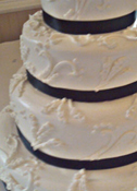 Smoothed Buttercream Icing with Fabric Ribbon Wedding Cake