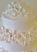 Smoothed Buttercream Icing with Buttercream Roses Wedding Cake