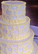 Smoothed Buttercream Icing with Checkerboard Wedding Cake
